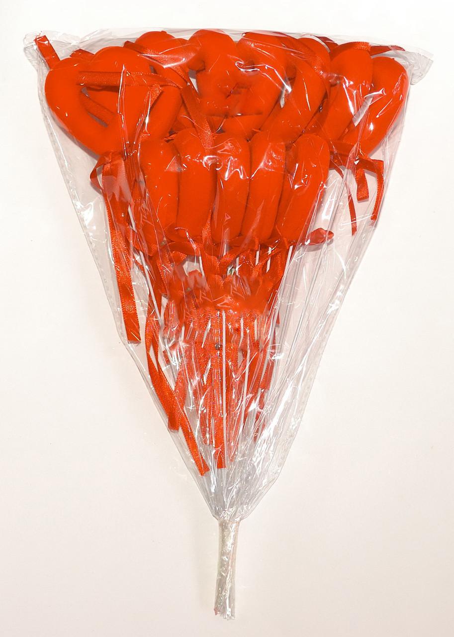 Полое бархатное сердце на палочке с бантиком красный (В упаковке 12 шт.)