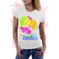 Женская белая футболка с рисунком ЛЕТНИЕ ЦВЕТА