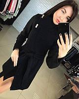 Женское красивое комбинированное пальто-косуха с поясом (4 цвета)