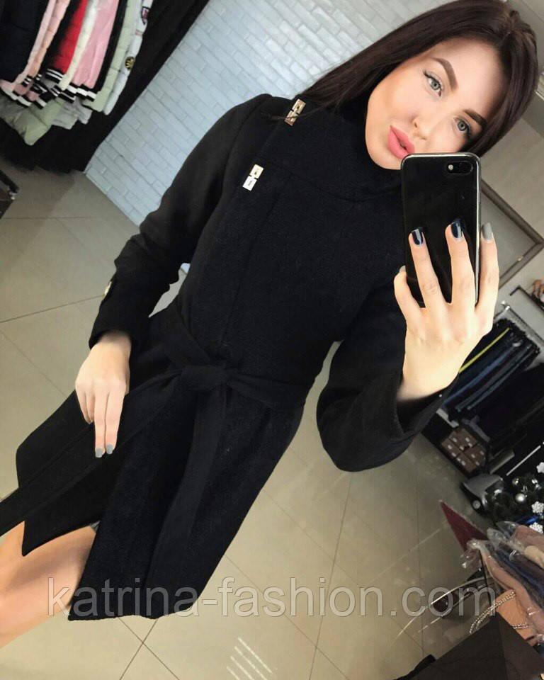 04bb5691a390 Женское красивое комбинированное пальто-косуха с поясом (4 цвета): продажа,  цена в ...