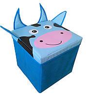 """Детский пуф 3 в 1 (корзина, ящик для игрушек) """"Корова"""" 40*40*40 см"""