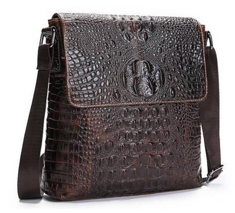 7bc439a8821a Мужская кожаная сумка BEXHILL с принтом под кожу крокодила коричневая, фото  2