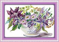 Цветы в вазе. Набор для вышивки крестом с печатью на ткани 14ст
