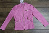 Весенняя куртка для девочек ( кож-зам)  110  рост Цвет розовый