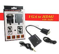 Конвертер 5138 VGA на HDMI (коробка), конвертер переходник VGA/HDMI 0.15м