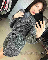 Женское стильное пальто букле оверсайз с поясом
