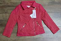 Весенняя куртка для девочек ( кож-зам)  116 рост Цвет коралловый