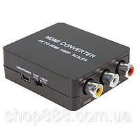 Конвертер AV 3RCA/HDMI (коробка), переходник конвертер av 3rca в hdmi