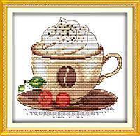 Кофе со сливками Набор для вышивки крестом с печатью на ткани 14ст