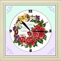 Часы. Розы. Набор для вышивания крестом с печатью на ткани 11ст