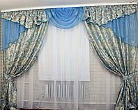 Комплект ламбрекен (№50) с шторами на карниз 2,5-3м. 050лш058