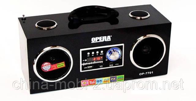 Акустика  Opera OP-7701, MP3 SD USB FM AUX, black