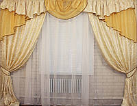 Комплект ламбрекен (№50) с шторами на карниз 2,5-3м. 050лш060