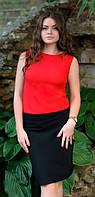 Платье комбинированное юбка и блузка Вивьен красный , платья интернет
