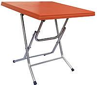 Стол складной квадратный с металлическими ножками Оранжевый