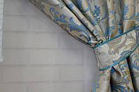 Комплект готовых штор с люрексовой нитью, цвет голубой 058ш