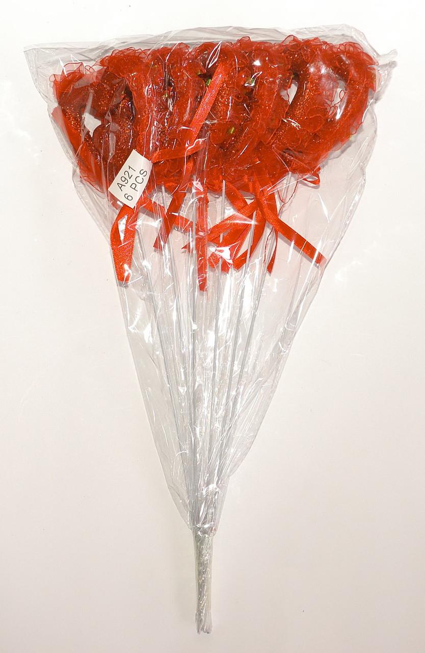 Полое сердце двойное на палочке с блестками, рюшами и бантиком | Красный (В упаковке 12 шт.)
