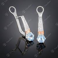 Серебряные серьги с топазом и фианитами. Артикул С-369
