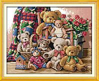 Семейство мишек Набор для вышивки крестом с печатью на ткани 14ст