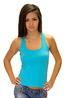Женская спортивная майка в рубчик борцовка лайкра голубая однотонная трикотажная хб Украина
