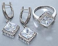 Комплект ювелирной бижутерии кольцо+серьги