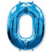 Шар фольгированный цифра 0 (синий)