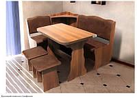 "Кухонный уголок ""Симфония"" (ДСП) - стол раскладной 57/114х90 см., уголок 140х110 см., табуреты 2шт."