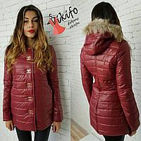 Куртка женская демисезонная с мехом на капюшоне разные цвета Gf69
