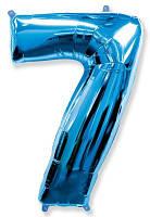 Шар фольгированный цифра 7 (синий)
