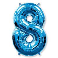 Шар фольгированный цифра 8 (синий)