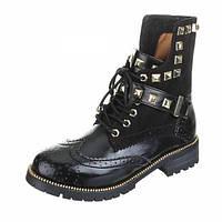 Черные модные ботинки с высоким задником(пяткой) на шнурках