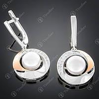 Серебряные серьги с жемчугом и фианитами. Артикул С-188