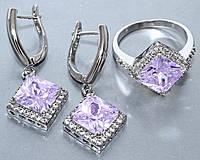 Комплект ювелирной бижутерии кольцо+серьги с цирконами