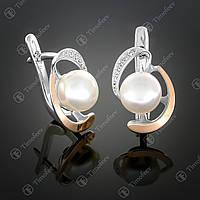Серебряные серьги с жемчугом и фианитами. Артикул С-208