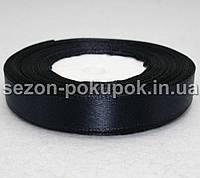 Лента атласная ширина 1,2 см (23 метра)  черно синий цвет