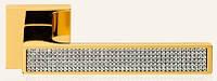 Дверная ручка на раздельной розе Zen Mesh (Глянцевое золото, кристаллы Swarovski) LineaCali
