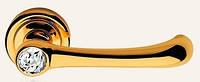 Дверная ручка на раздельной 103 розе Idea глянцевое золото/кристалл Swarovski LineaCali