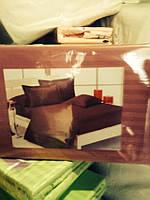 Элитное постельное белье сатин евро коричневого цвета