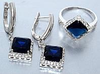 Комплект ювелирной бижутерии серьги+кольцо с цирконами