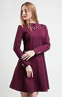 Красивое платье марсала с жемчужинами. Розклешонный низ, длинный рукав