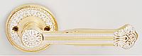 Дверная ручка на раздельной розе Genova 816 GP/WL  золото/белый лак RDA