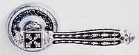 Дверная ручка на раздельной розе Roma 818 CP/BL хром/черный лак RDA