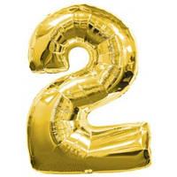 Шар фольгированный цифра 2 (золото)