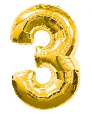 Шар фольгированный цифра 3 (золото)