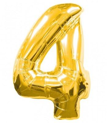 Шар фольгированный цифра 4 (золото)