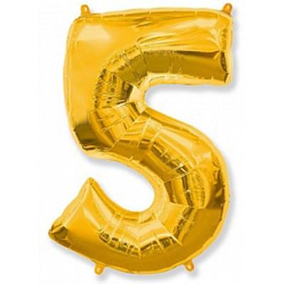 Шар фольгированный цифра 5 (золото)