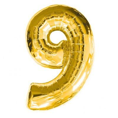 Шар фольгированный цифра 9 (золото)