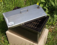 Компактная коптильня горячего копчения. Двух-ярусная с термометром крышка домиком. Хорошее качество Код: КГ312