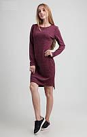 Стильное трикотажное платье с удлиненной спинкой цвета бордо