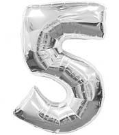 Шар фольгированный цифра 5 (серебро)